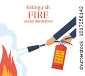 extinguish fire. fireman hold... | Shutterstock .eps vector #1017258142