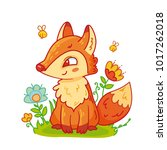 cute fox sitting on grass with... | Shutterstock .eps vector #1017262018