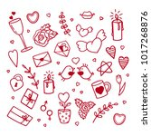 set of love doodle icons.... | Shutterstock .eps vector #1017268876