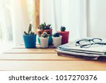 desk of workplace with... | Shutterstock . vector #1017270376