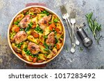 chicken meat  thighs baked with ...   Shutterstock . vector #1017283492