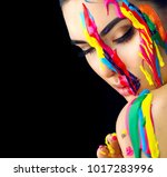 fashion model girl colorful... | Shutterstock . vector #1017283996