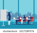 business team meeting working... | Shutterstock .eps vector #1017289576