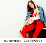 young pretty teenage hipster... | Shutterstock . vector #1017290935