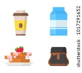 set icon paper cup coffe  milk  ... | Shutterstock .eps vector #1017291652