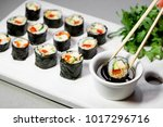 vegan sushi rolls with quinoa ... | Shutterstock . vector #1017296716