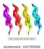 set abstract colorful wave flow ...   Shutterstock .eps vector #1017305302