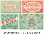 retro card. set of 4 templates. ... | Shutterstock .eps vector #1017314545