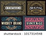 old cards set with floral... | Shutterstock .eps vector #1017314548