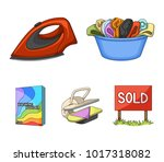 a bowl with laundry  iron ... | Shutterstock .eps vector #1017318082