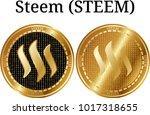 set of physical golden coin...   Shutterstock .eps vector #1017318655