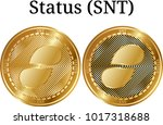 set of physical golden coin... | Shutterstock .eps vector #1017318688