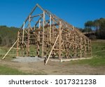 post and beam barn raising | Shutterstock . vector #1017321238