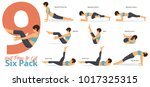 a set of yoga postures female... | Shutterstock .eps vector #1017325315