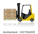 Forklift With Boxes On Pallet