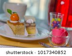 cake cut into pieces on the... | Shutterstock . vector #1017340852