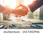 man and woman are shaking hands ... | Shutterstock . vector #1017342946