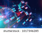 block chain network and... | Shutterstock . vector #1017346285