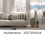 white room with sofa and winter ... | Shutterstock . vector #1017354316
