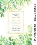 floral wedding invitation with...   Shutterstock .eps vector #1017355588