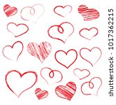 free hand drawn red heart.   Shutterstock .eps vector #1017362215