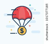 parachute with dollar gold coin ... | Shutterstock .eps vector #1017377185