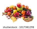 fresh fruits  vegetables ...   Shutterstock . vector #1017381298