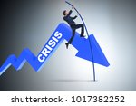 businessman pole vaulting over... | Shutterstock . vector #1017382252