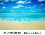 summer beach with golden sand... | Shutterstock . vector #1017383338