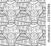 easter eggs. black and white...   Shutterstock .eps vector #1017386086