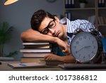 student preparing for exams... | Shutterstock . vector #1017386812
