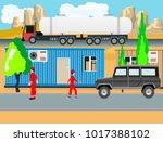 village of oilmen  caravans and ... | Shutterstock .eps vector #1017388102