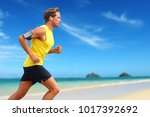 runner listening smartphone... | Shutterstock . vector #1017392692