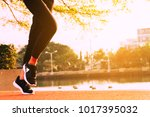 healthy woman doing exercises... | Shutterstock . vector #1017395032