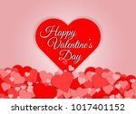 happy valentines day red heart... | Shutterstock .eps vector #1017401152