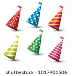 party hat isolated set on white ... | Shutterstock . vector #1017401506