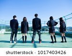 japanese high school students... | Shutterstock . vector #1017403426