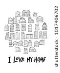 black line house doodle... | Shutterstock .eps vector #1017406702