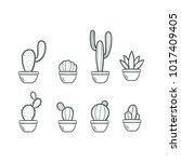 cactus doodle  vector... | Shutterstock .eps vector #1017409405