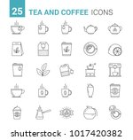 25 tea and coffee line icons ... | Shutterstock .eps vector #1017420382
