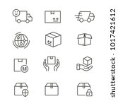 logistics   line vector icon... | Shutterstock .eps vector #1017421612