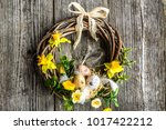 easter background with spring... | Shutterstock . vector #1017422212