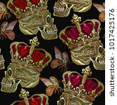 embroidery golden crown  human... | Shutterstock .eps vector #1017425176