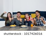 group of young adults cheering... | Shutterstock . vector #1017426016