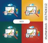 flat illustration web analytics ... | Shutterstock .eps vector #1017426112