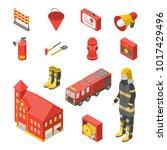 firefighter man and equipment... | Shutterstock .eps vector #1017429496