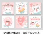 cute polar bear happy love... | Shutterstock .eps vector #1017429916