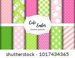 cute set of easter seamless... | Shutterstock .eps vector #1017434365