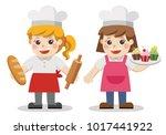 characters of  baker bakery... | Shutterstock .eps vector #1017441922
