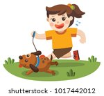 a girl going to take the dog... | Shutterstock .eps vector #1017442012